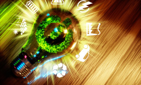 Concept  of green energy innovation technology. 3D computer generated image.